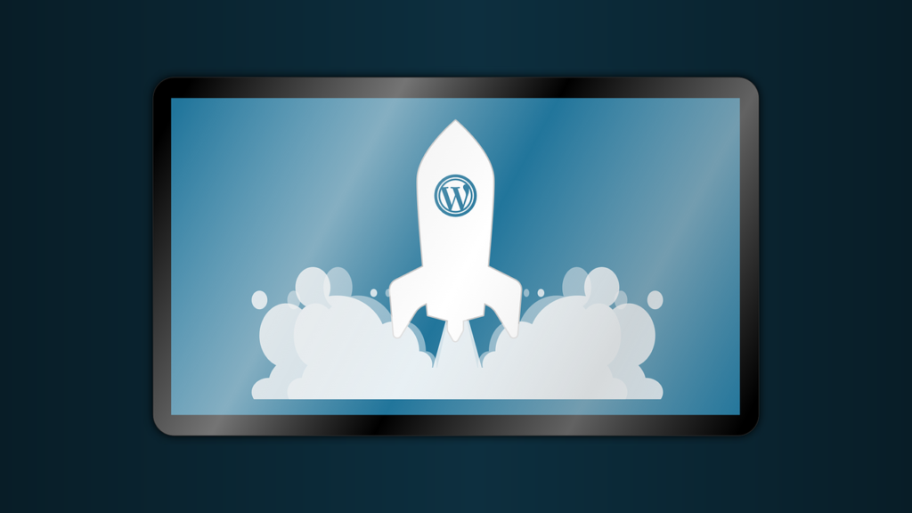 WordPress Logo on rocket